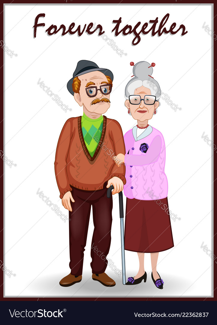 Forever together greeting card old woman and old