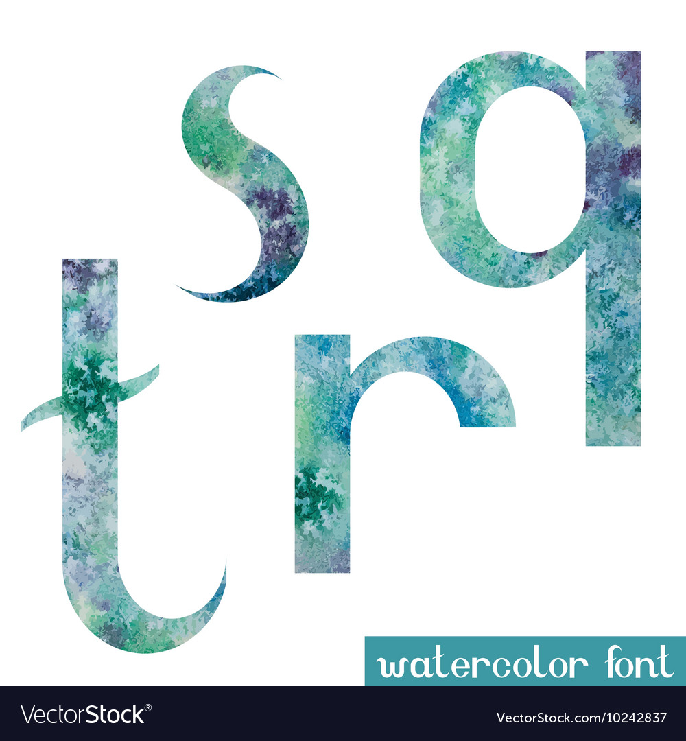 Green-blue watercolor font QRST vector image