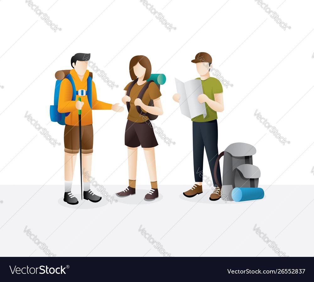 Group traveler walking