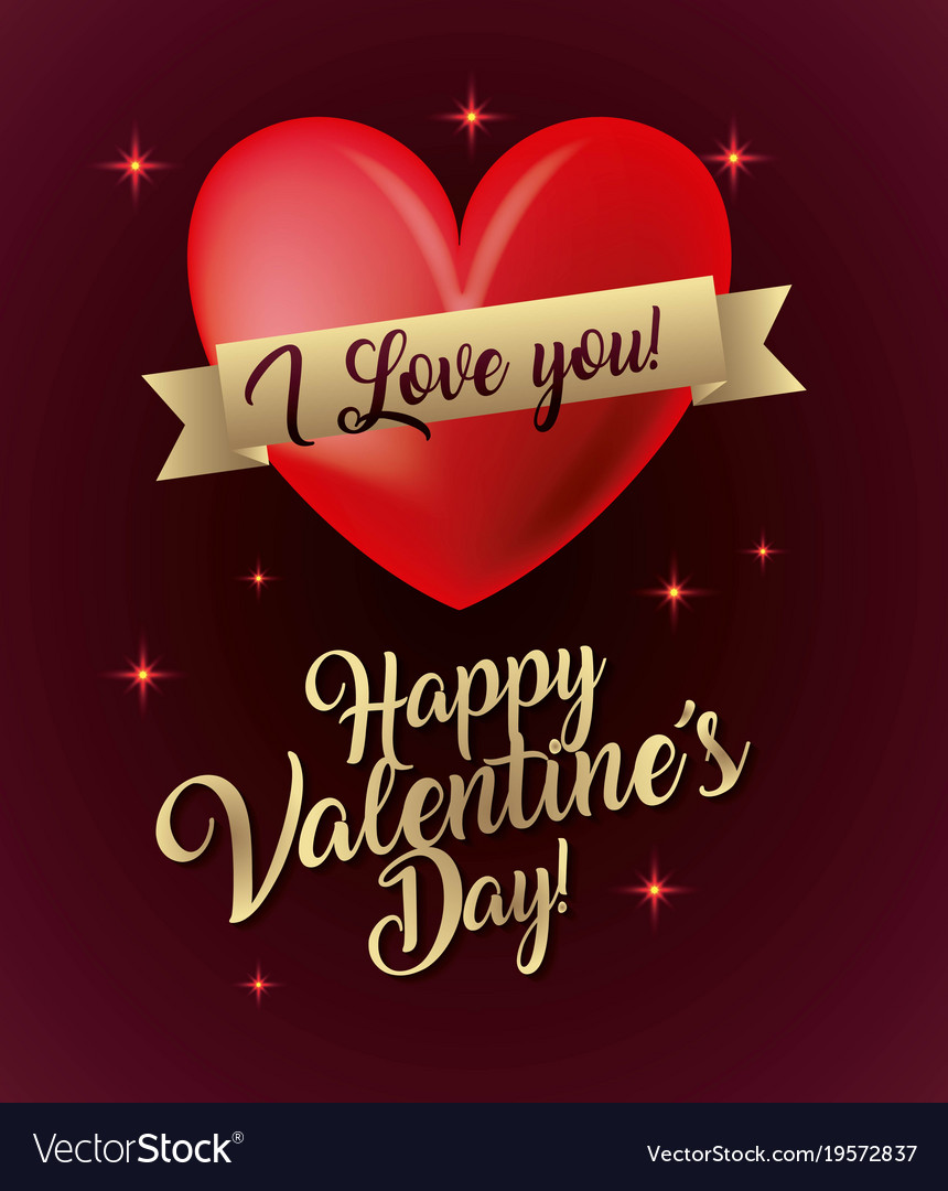 Happy valentines day card i love you glow lights vector image m4hsunfo