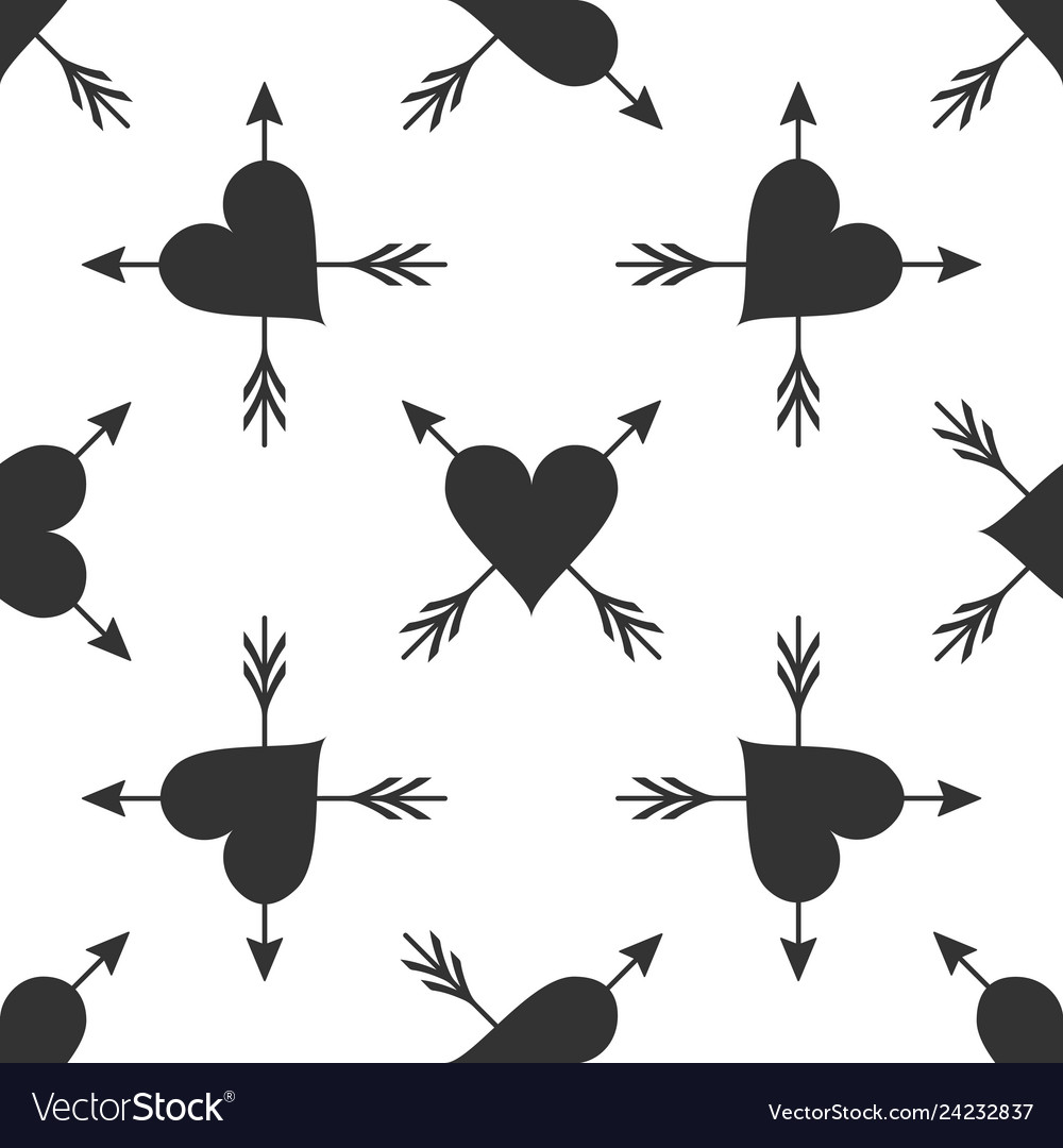 Heart with arrow icon isolated seamless pattern