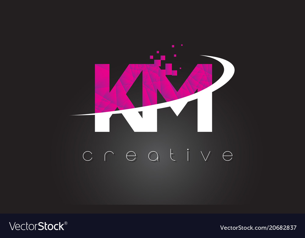 Km K M Creative Letters Design With White Pink Vector Image