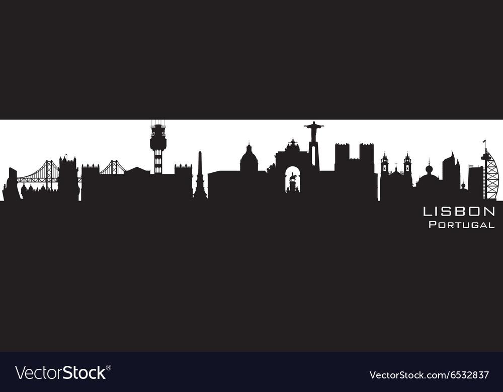 Lisbon Portugal skyline Detailed silhouette