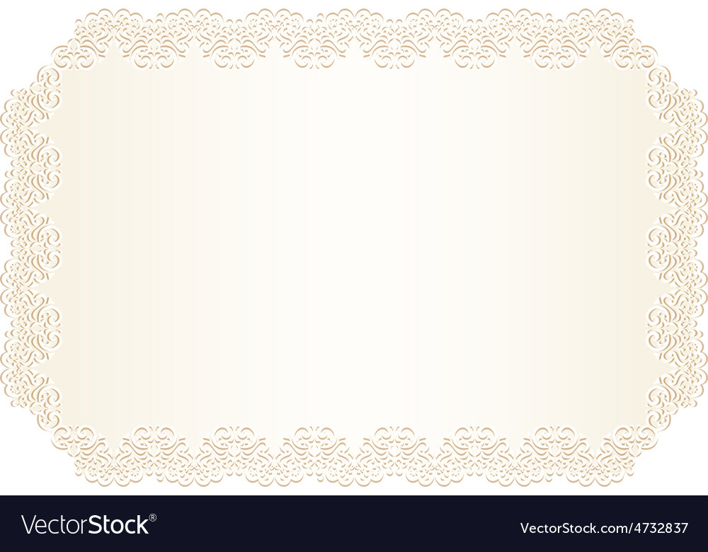 Luxury Creamy Wedding Invitation With Lace Border Vector Image