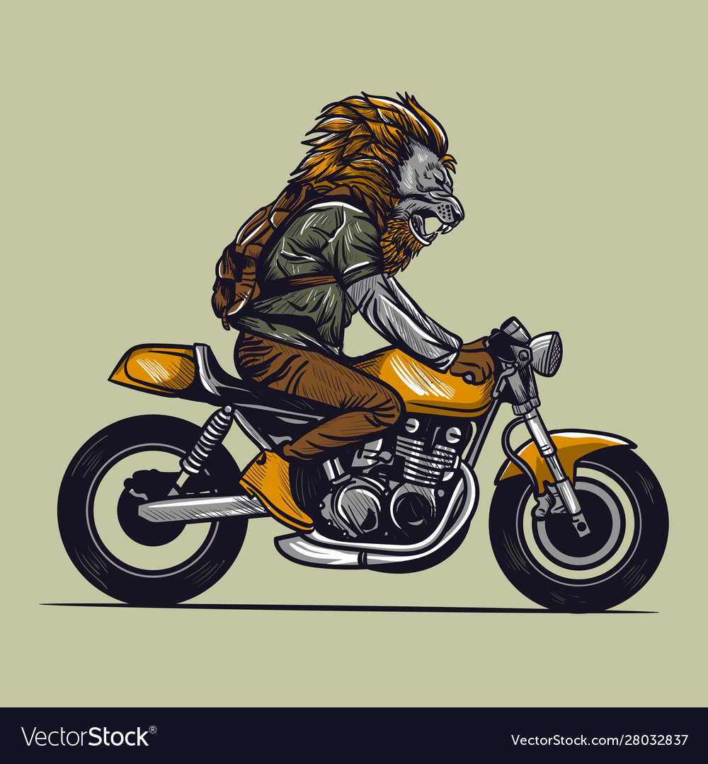 Motorcycle rider with lion head
