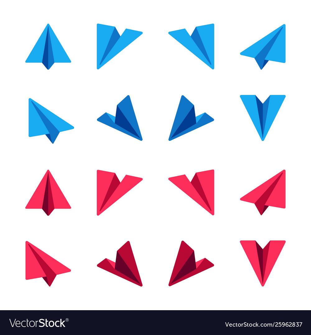 Paper plane icon set