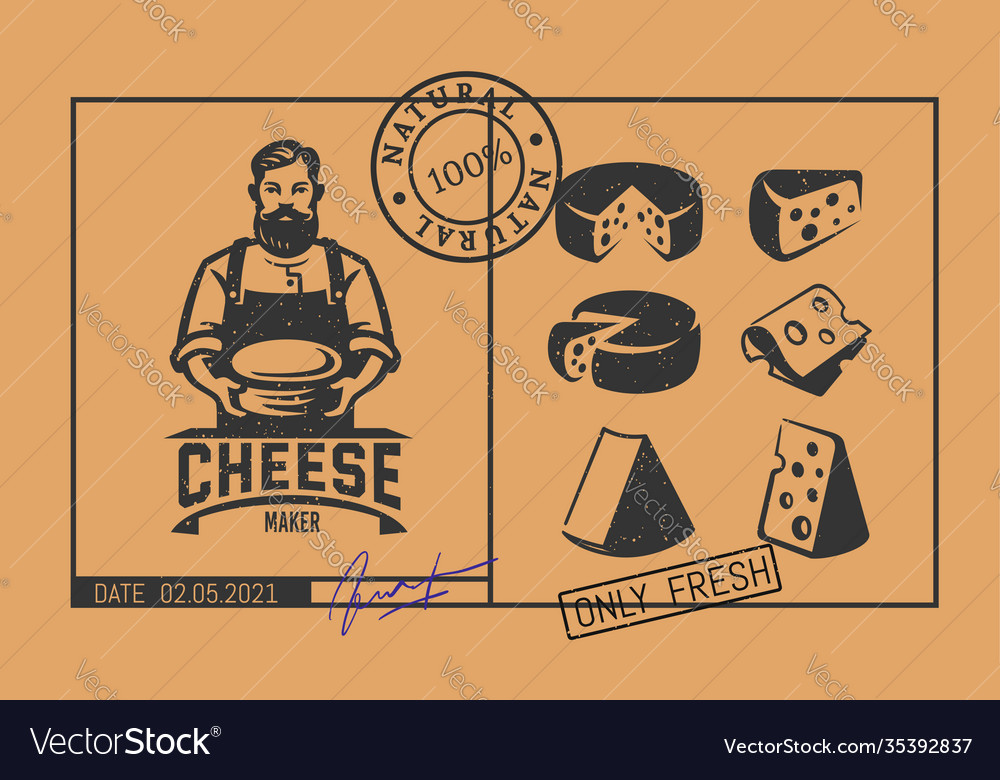 Price tag cheese with cheese maker logo