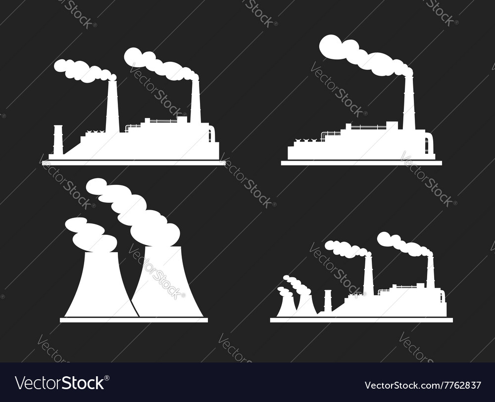 Set of industry manufactory building icons vector image on VectorStock