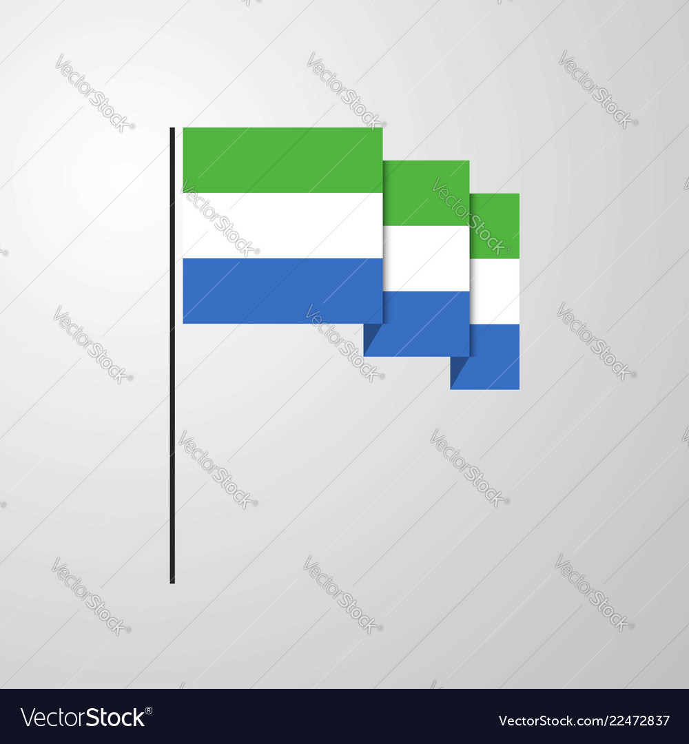 Sierra leone waving flag creative background