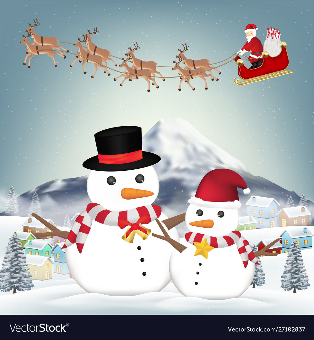 Snowman and santa claus in winter village