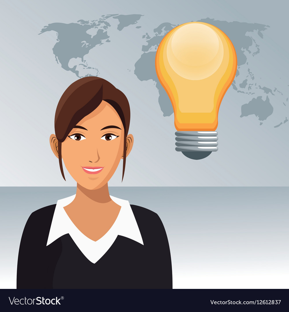Woman work office bulb creativity world background