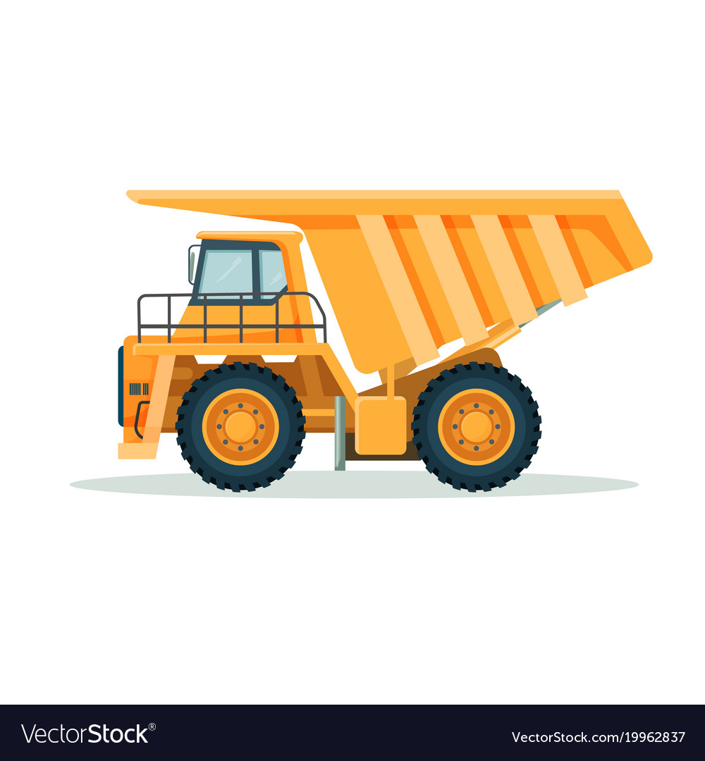 Yellow dump truck with big empty body and small