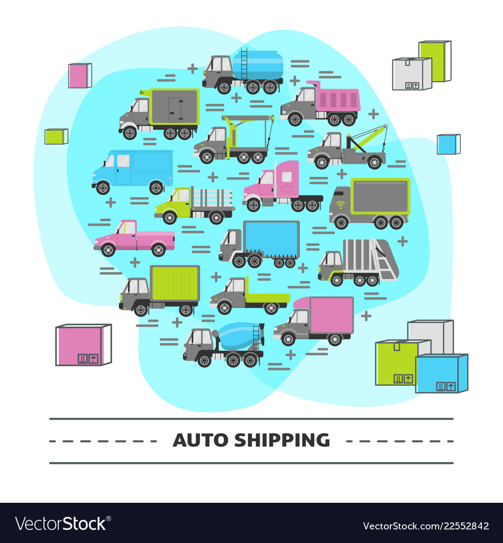 Auto shipping round concept with different types