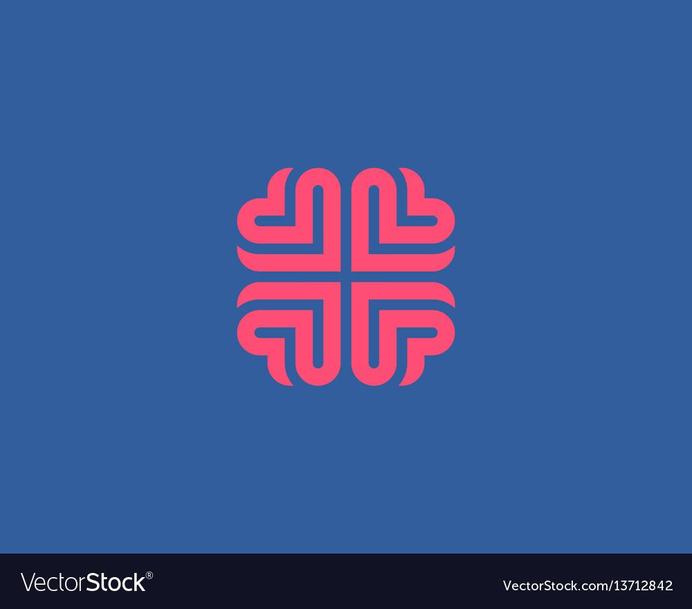 Brain heart logo design education medical vector image