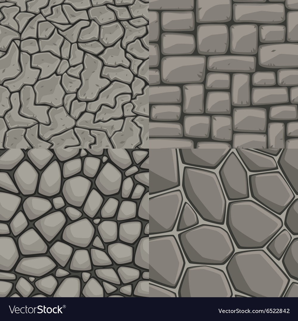 Cartoon stone wall seamless set