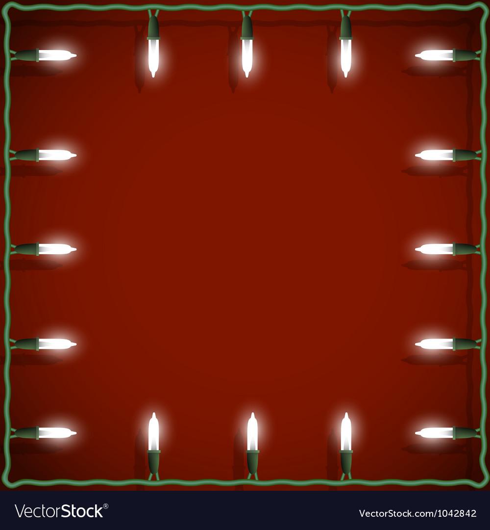 Christmas Lights Frame On Red Background