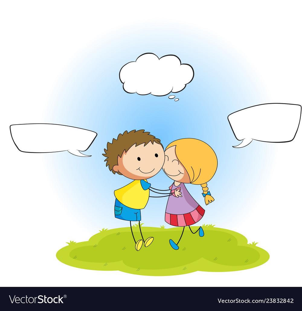 Couple with speech balloon