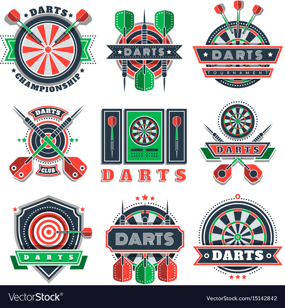 Darts tournament icons and badges for sport clubs