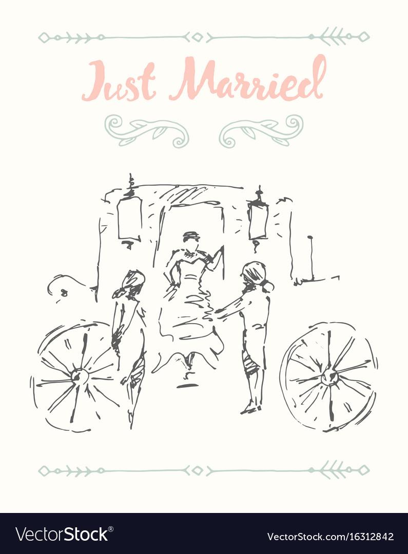 Drawn bride groom carriage sketch
