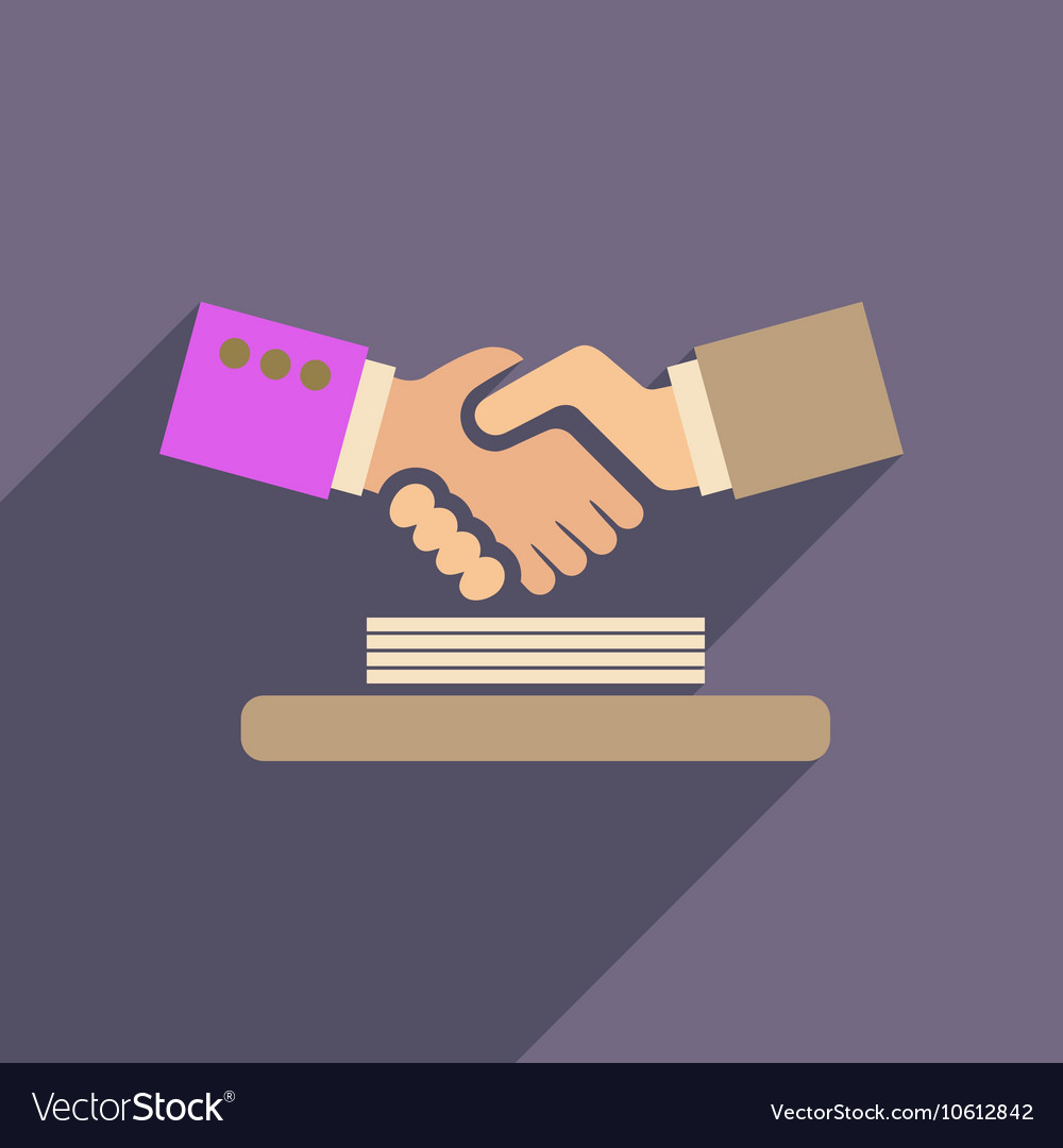 Flat web icon with long shadow handshake