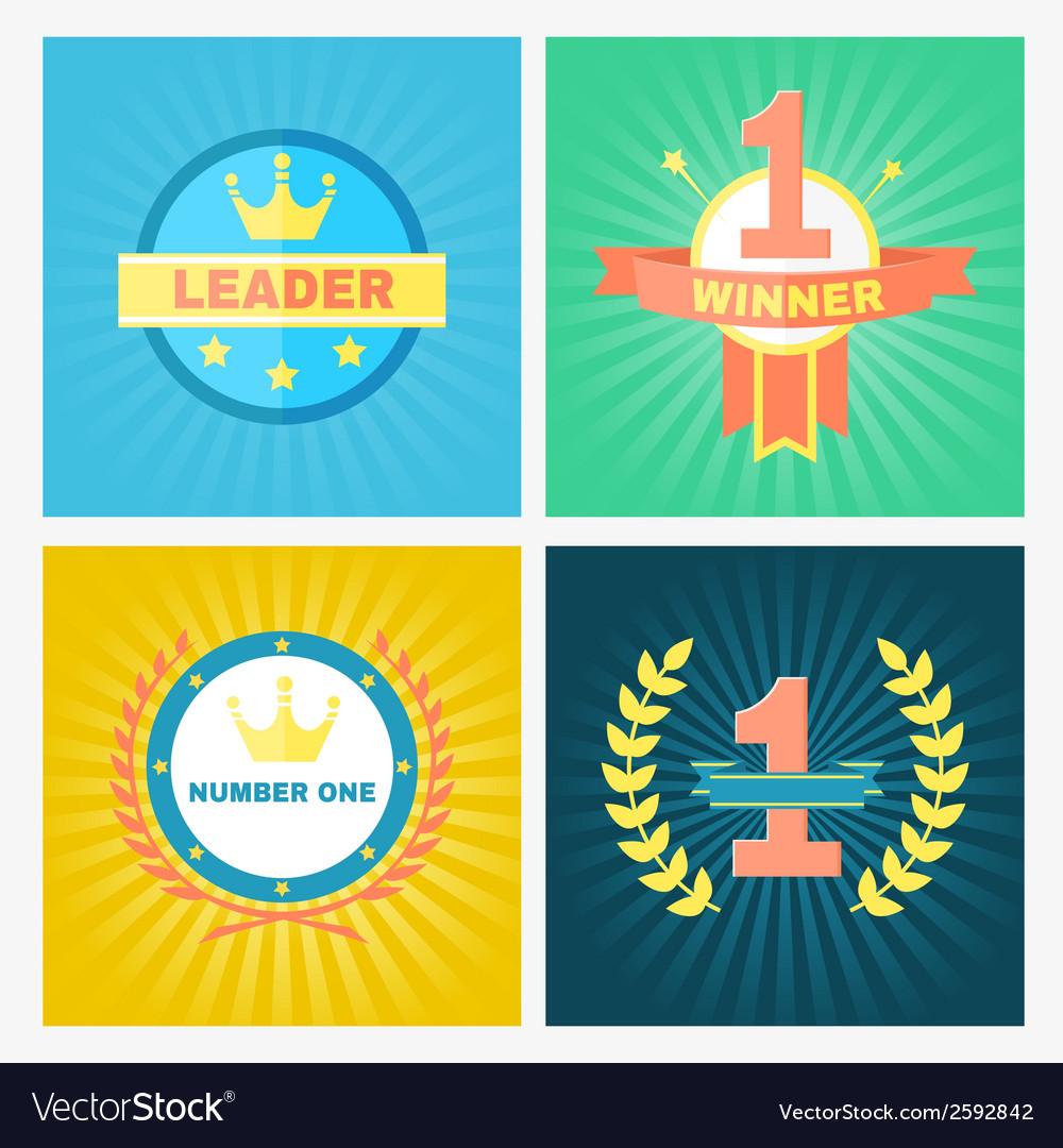 Flat winner emblems vector image