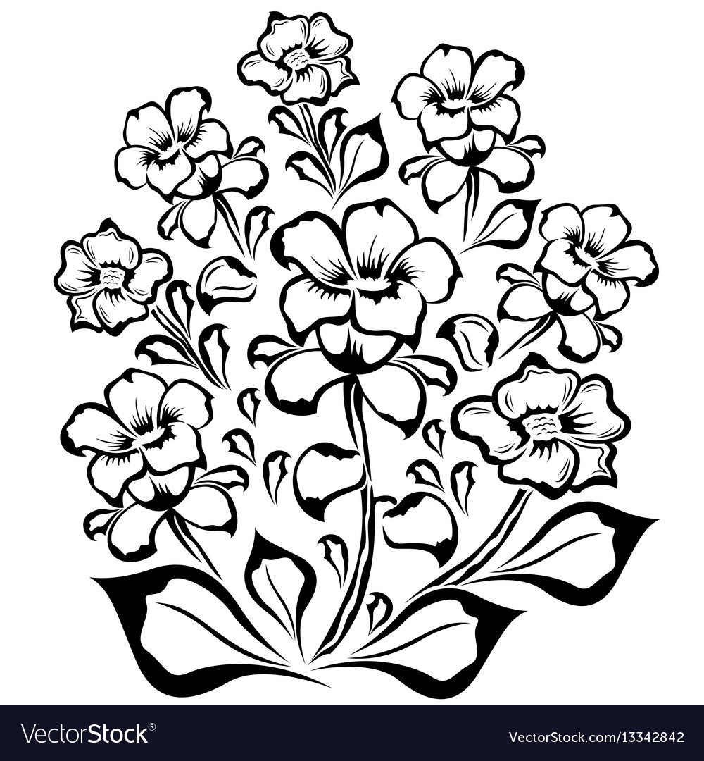 Flower Group Black Outline Royalty Free Vector Image