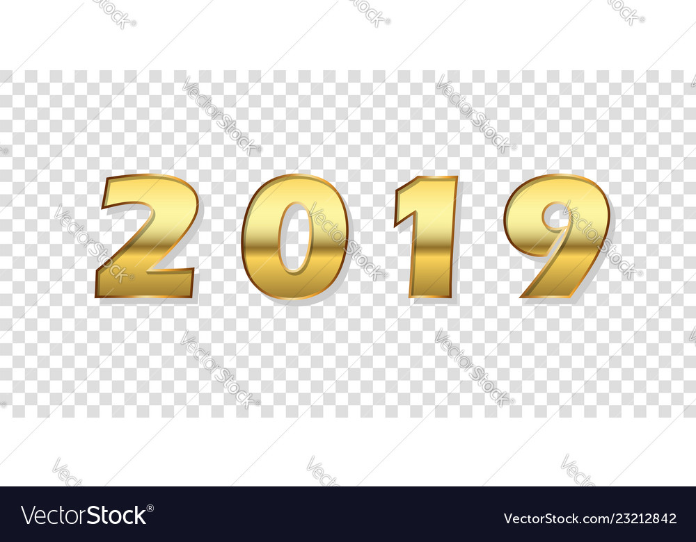 Happy new year background gold 3d number 2019