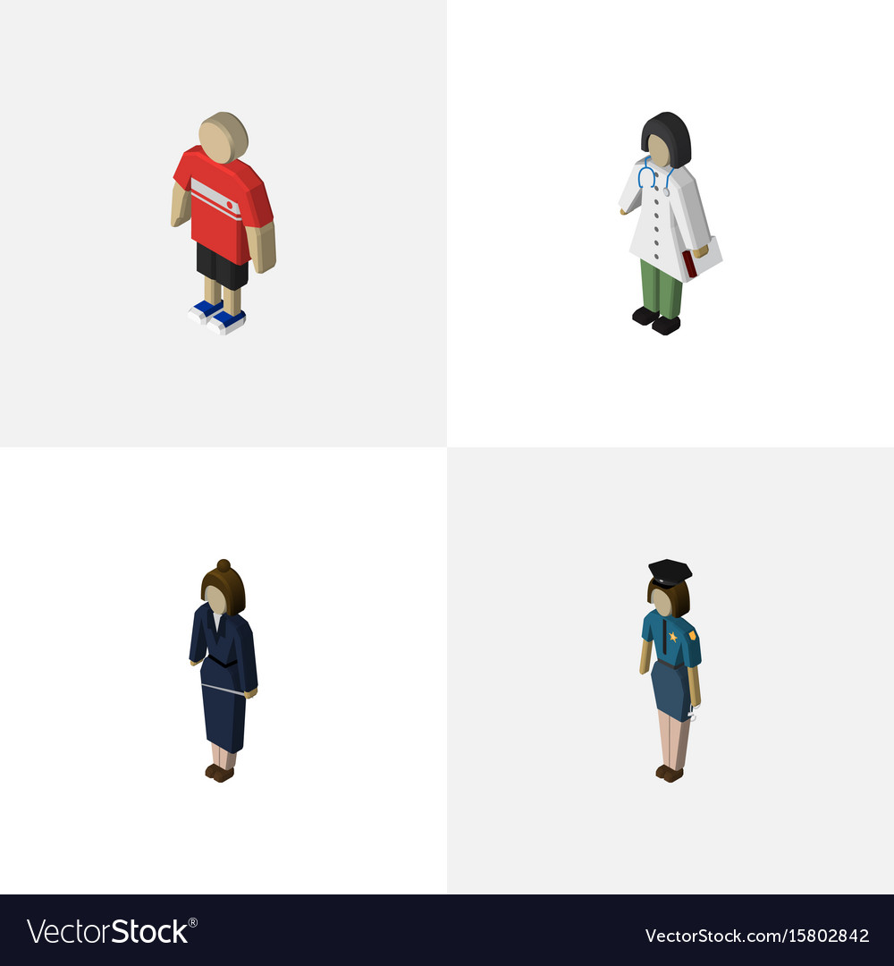 Isometric person set of guy businesswoman