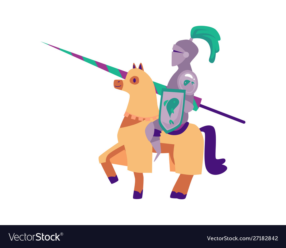 Medieval knight in a helmet and armor on a horse