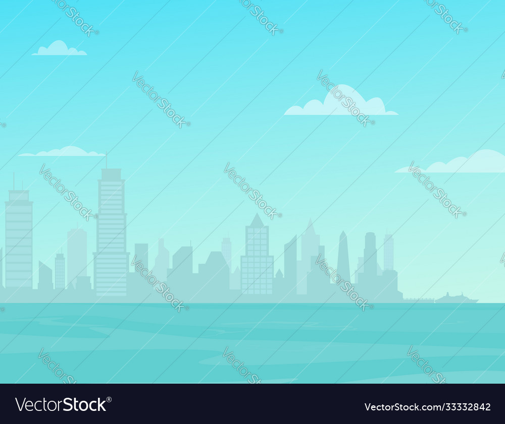 Modern city skyline over sea city street vector