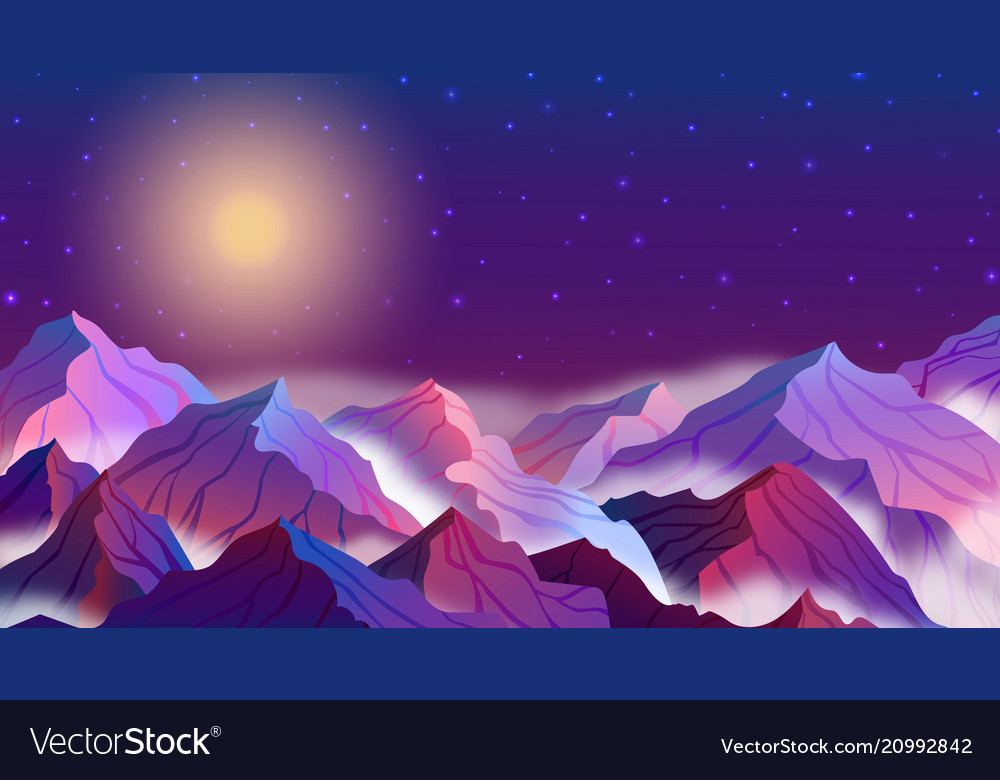 Night landscape with mountains stars