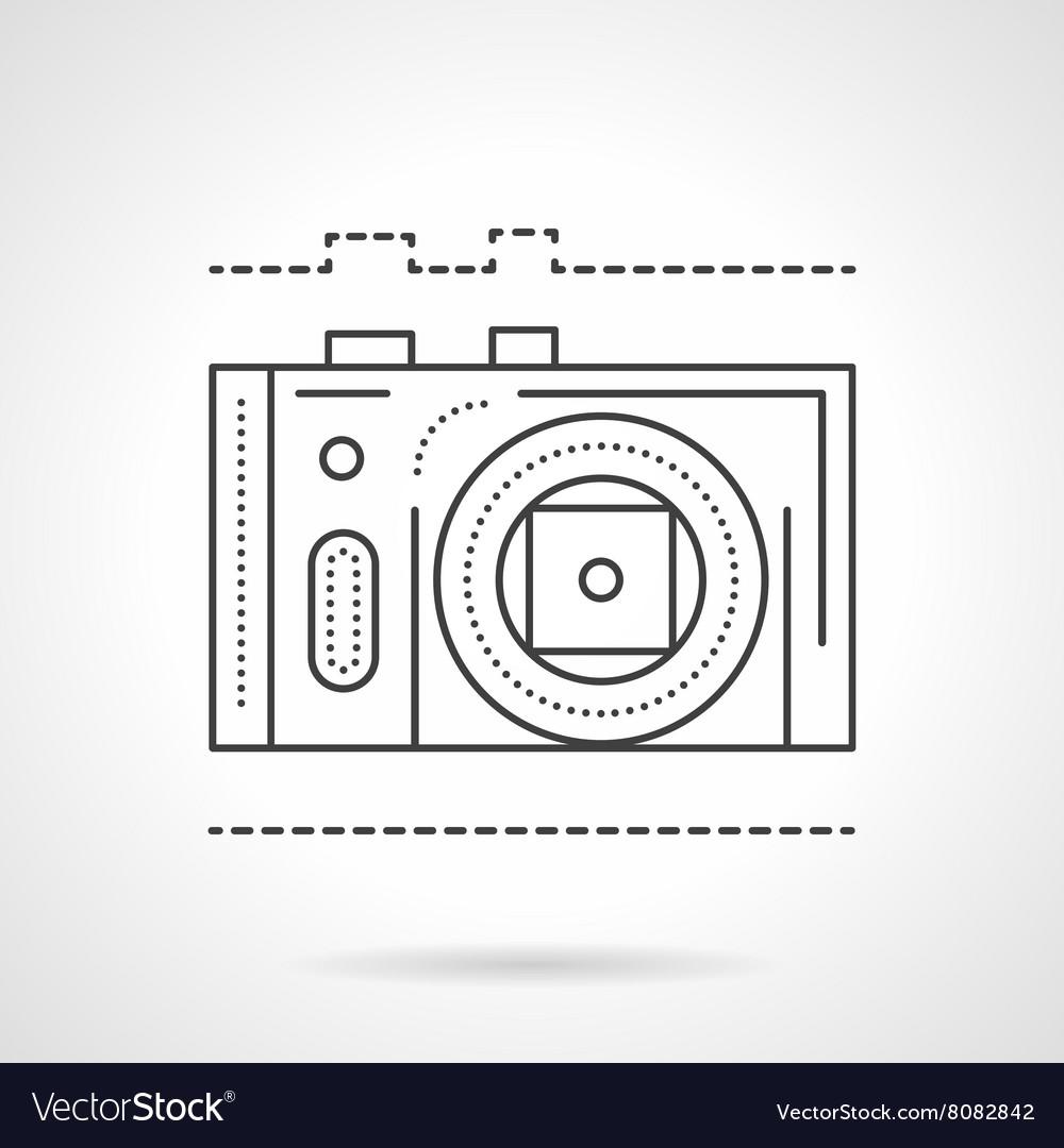 Photo camera line flat line icon