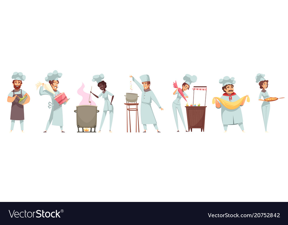 Professional cooking people set vector image