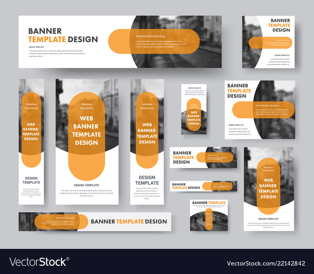 Set of horizontal vertical and square web banners