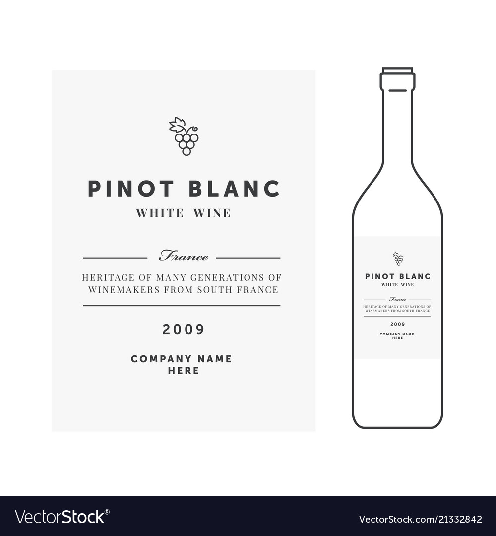 White Wine Label Premium Template Clean Royalty Free Vector