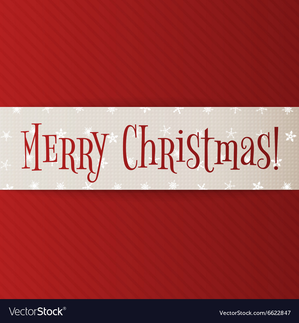 Big white Christmas Banner on red Background vector image