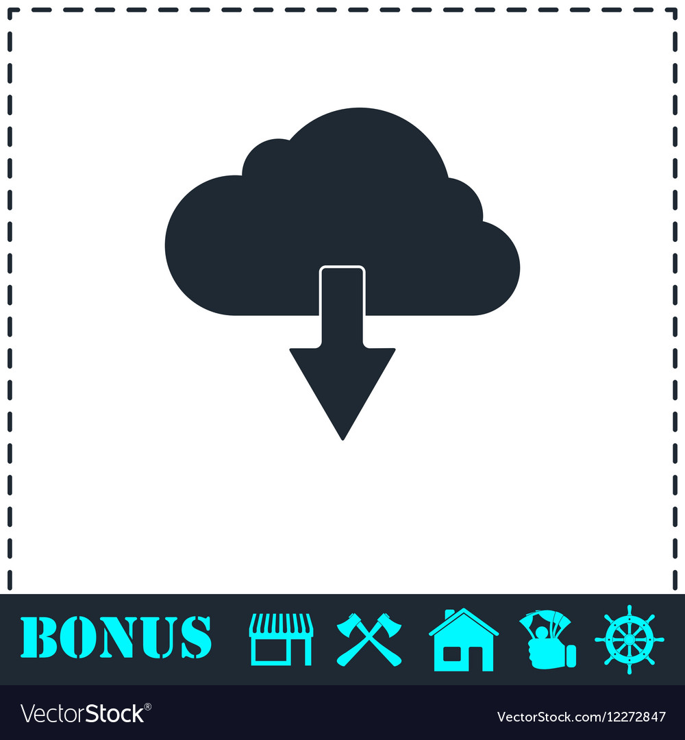 Cloud download icon flat