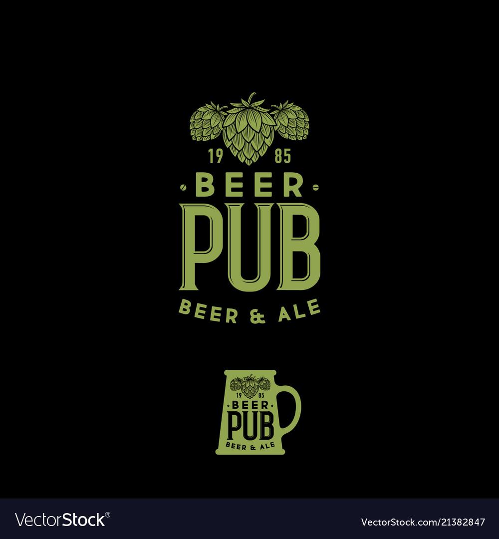 Craft beer pub emblem mug sign hop cones and lette