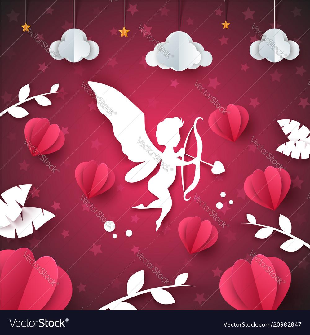 Cupid angel heart - paper cloud