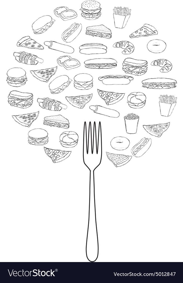 Doodle foods tree vector image