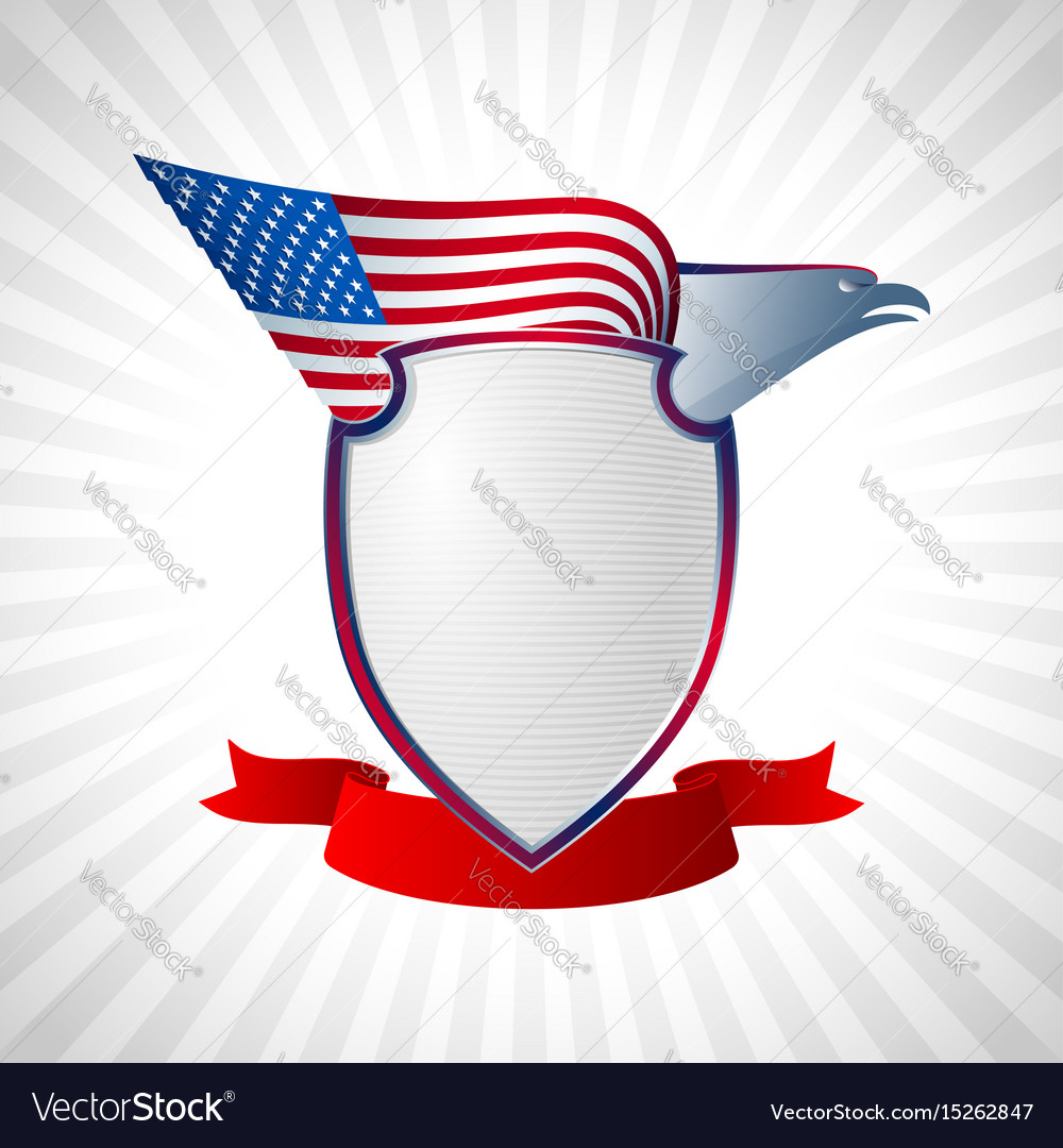 Eagle us shield flag wing flying background grey