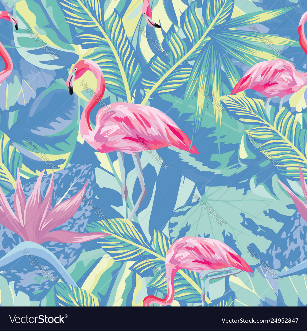 Flamingo in abstract blue foliage leaves