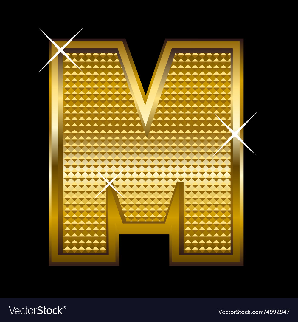 Golden font type letter M Royalty Free Vector Image