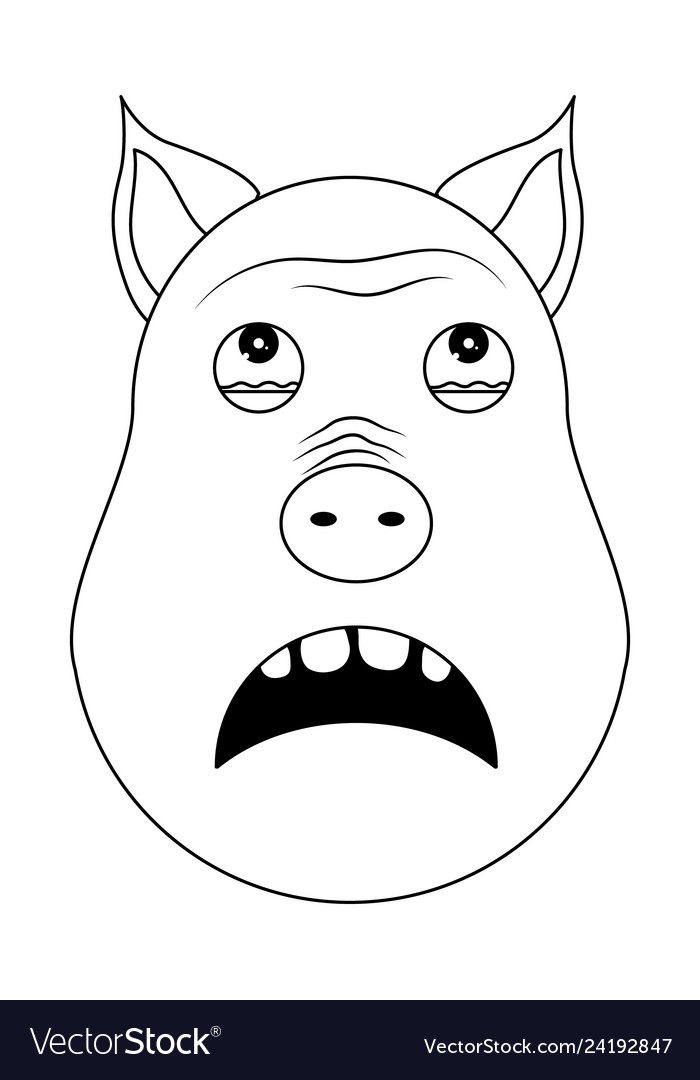 Head of terrified pig in outline style kawaii