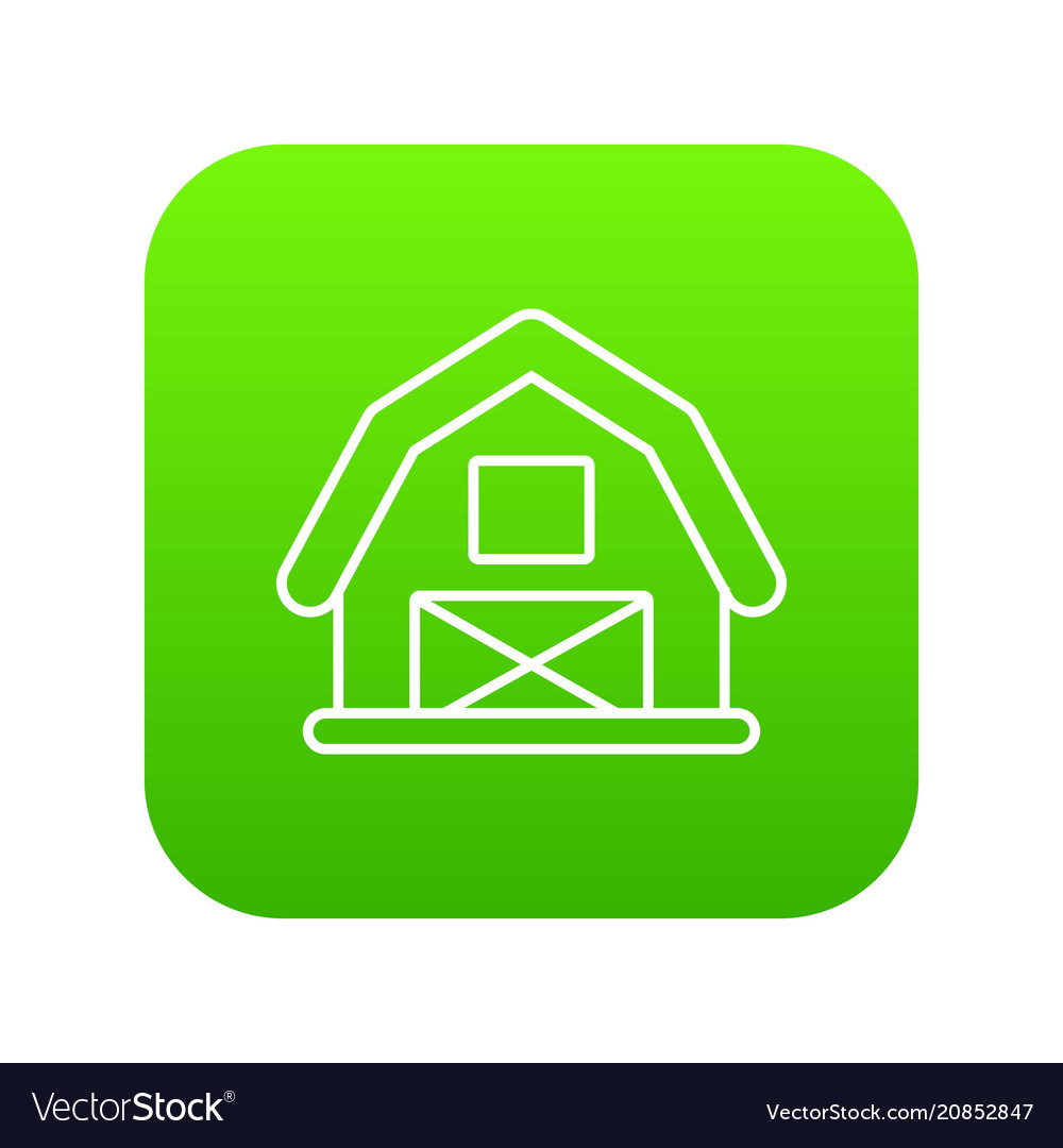 Horse barn icon green vector image