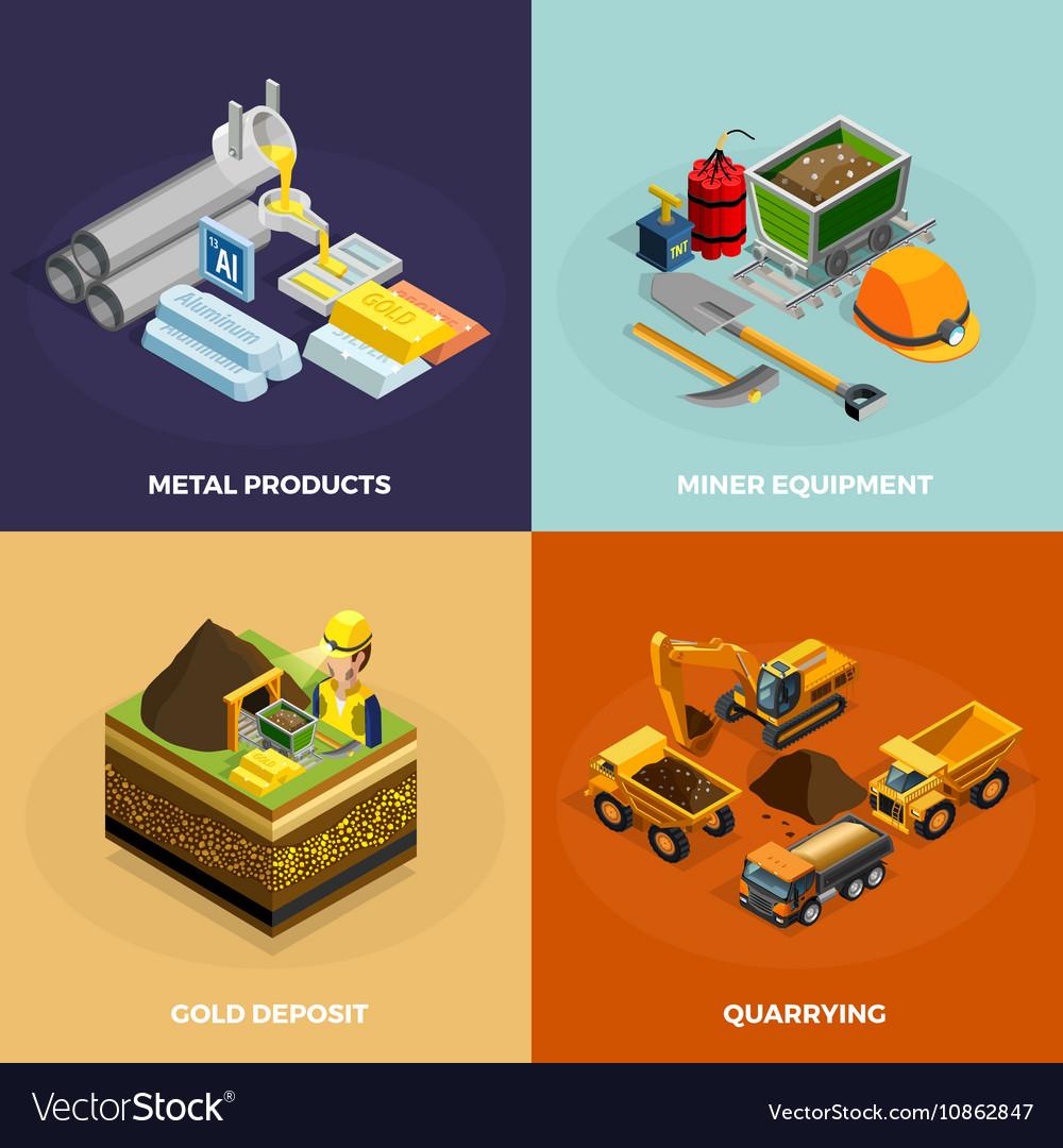 Mining Concept Isometric Icons Set