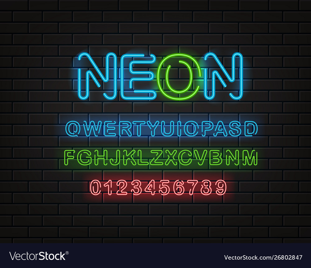 Neon font clipart latin alphabet and digits on a