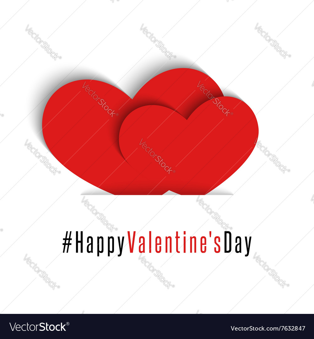 Pair red hearts Happy Valentines Day card mockup