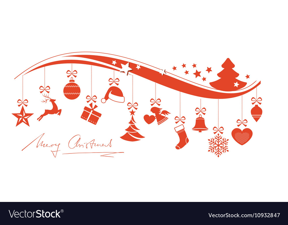 Red wavy border with hanging Christmas