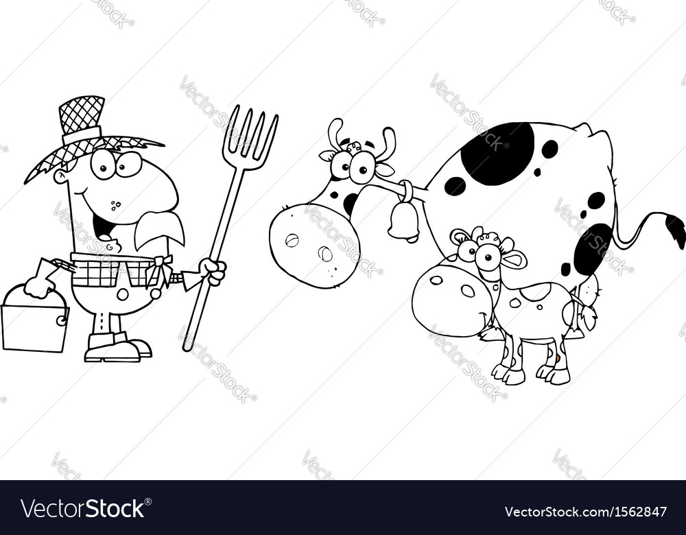 Royalty Free RF Clipart Male Farmer Calf And Cow vector image